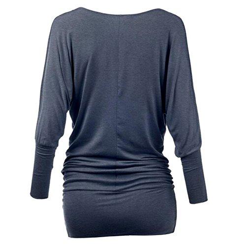 Yuxin Manica Lunga Camicetta per Donna - Moda Tinta Unita Slim Fit Camicia Elegante Scollo a V Primavera e Autunno Casual Shirts Tops Blu grigio