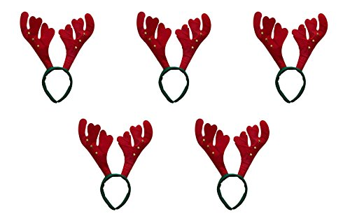 5 er Set Weihnachtsgeweih Elch Geweih Haarreif Weihnachtsmütze Nikolausmütze Grün Rot mit Glöckchen X50