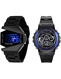 Swadesi Stuff New Arrival Blue & Black Color Kids Digital Watch Combo for Boys and Children