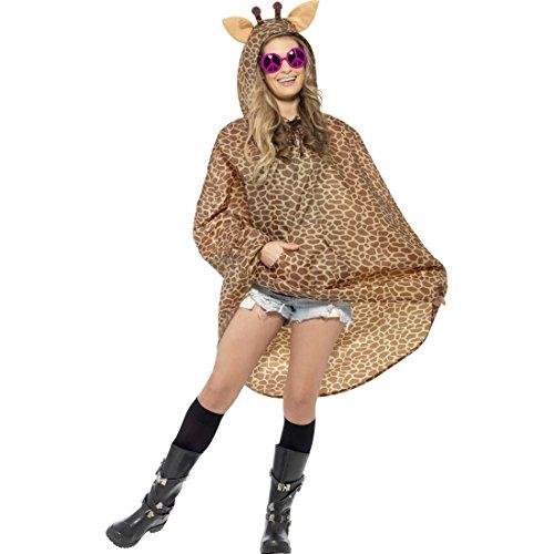 Amakando Giraffenkostüm Poncho Giraffen Kostüm Giraffe Partyponcho Party Regencape Tierkostüm Tier Karnevalskostüm