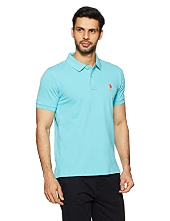 US Polo Association Men's Solid Regular Fit Polo (USTS5774_Blue Radiance_S HS)
