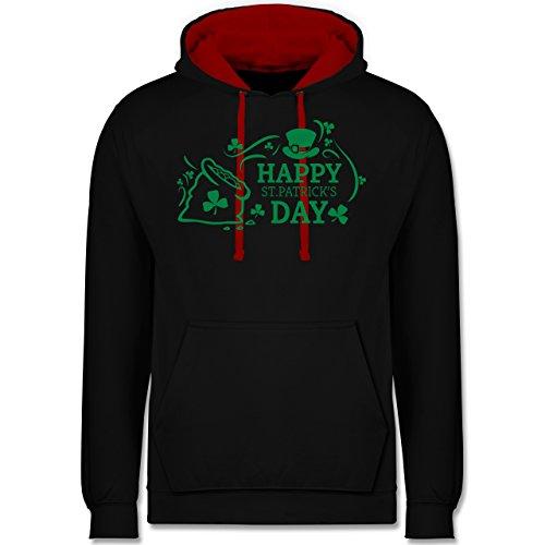 Festival - Happy St. Patricks Day Badge - Kontrast Hoodie Schwarz/Rot