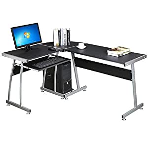 Popamazing large l shape corner computer pc desk table workstation home office furniture black Home furniture on amazon