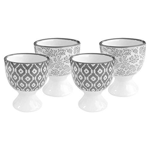 COM-FOUR® 4x Eierbecher aus Keramik im Skandinavischen Design, in grau und creme, Ø 5 cm, 6 cm hoch (04-teilig - Eierbecher)