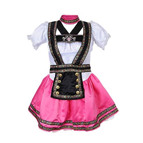 F fityle costume dell'oktoberfest birra maid wench tradizione etnica trachten vestito bavarese tedesco di heidi dirndl - rosa bianco e nero, xxl