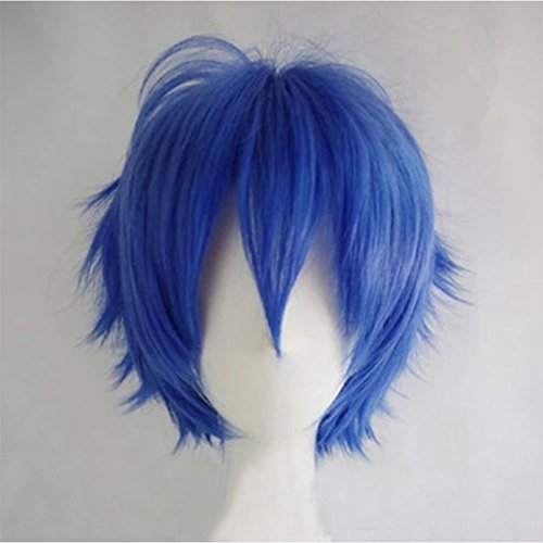 Cosplay Wigs Short Anime Costume Party Full Wigs Dark Blue Fashion Straight Synthetic Hair for Women Men