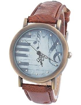 Souarts Damen Retro Braun Klaviertaste Armbanduhr Quartz Analog Armreif Uhr mit Batterie