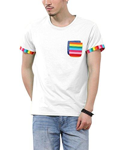 Herren Rundhals Einsatz Brusttaschen Enge Passform Schick Hemd Weiß