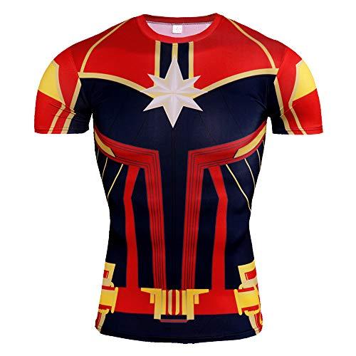 HOOLAZA Avengers Super Heroes Männer Kompressions-T-Shirt Captain Marvel Tops Fitness