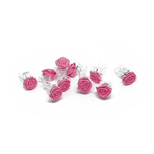 10 x Rosen auf Haarklammer - Brauthaarschmuck - Rosenhaarklammern (pink)