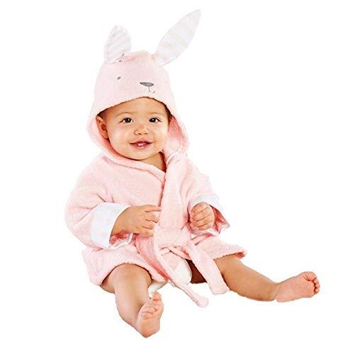 OverDose Damen Baby Jungen Mädchen Kinder Bademantel Cartoon Tiere Nette Weiche Licht Saugfähige Kapuze Handtuch Pyjamas Kleid(Rosa,18-24Months)