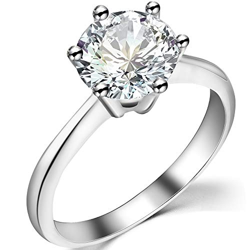 925 Sterling Silver 2.0 Carat Cubic Zircon Diamond Wedding Engagement Propose Ring (Silver, I)