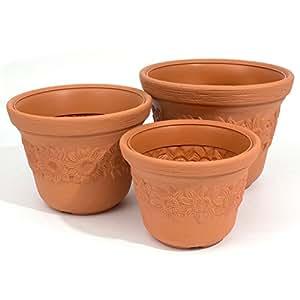 Kit de 3 pots de fleur Sunny en plastique 30 + 35 + 40 cm, en brun