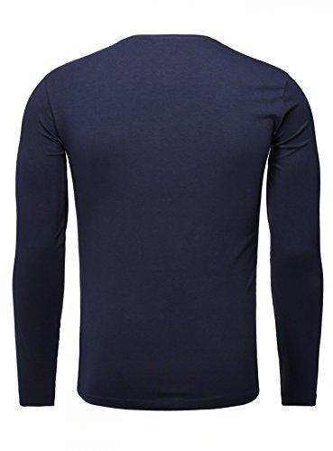 Akito Tanaka Herren Longsleeve Basic v-Neck Uni Langarm T-Shirt mit Tiefem V-Ausschnitt Einfarbig Slimfit Dunkelblau