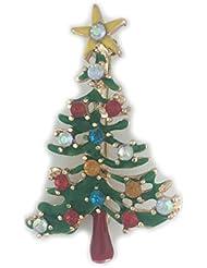 * Reino Unido * Navidad tradicional verde broche con forma de árbol de Pin con Color Rhinestone bolas bisutería secreto Santa