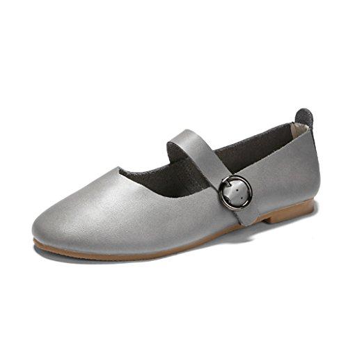 HWF Scarpe donna Primavera scarpe da donna retrò piatte bocca superficiale scarpe singole nonne scarpe femminili ( Colore : Grigio , dimensioni : 35 ) Grigio