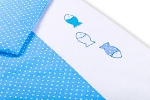 Amilian® Baby Bettwäsche Design: Fischlein Blau, 80x80 cm + 35x40 cm (2 tlg.) (Fisch Baby-bettwäsche)