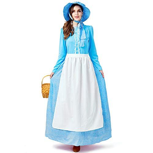 Kostüm Europäische Party - CHIYEEE Damen Maid Party Kostüm Europäischen Pastoralen Stil Kleid Hellblau für Frauen XXL