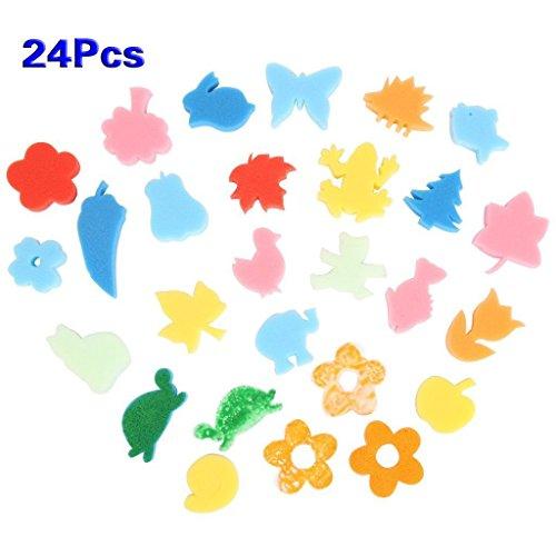 fai da te spugna - SODIAL(R) 24 pezzi colorato Diverse forme Bambini Bambini Crafting pittura spugna Stamp fai da te
