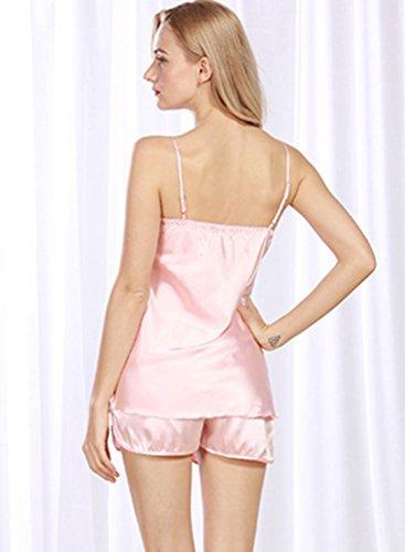 WanYang Damen Schlafanzüge Satin Kurz Nachthemd Pyjama Shorts Spitze Negligee Set Hell Rosa