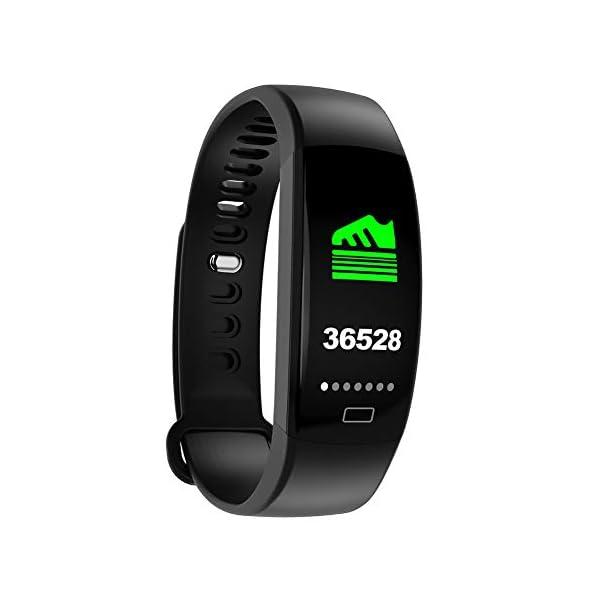 Pulsera impermeable Bluetooth 4.0fitness Tracker podómetro Monitor de ritmo cardiaco del sueño mallalah deporte reloj Smart Watch, color Negro 4