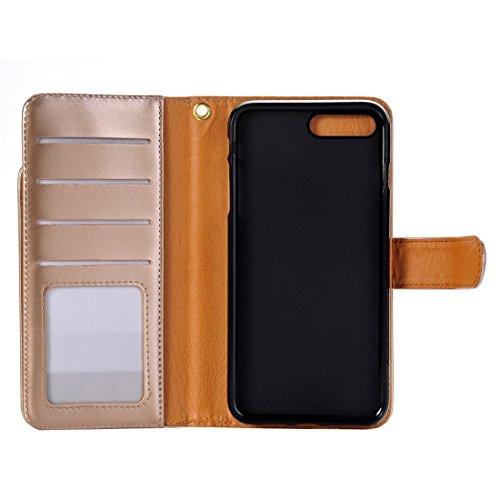 Hülle für iPhone 7 plus , Schutzhülle Für iPhone 7 Plus & 6 Plus & 6s Plus Abnehmbare Plain Weave Stitching Horizontale Flip PU Ledertasche mit Card Slots & Wallet & Photo Frame ,hülle für iPhone 7 pl Gold