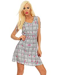 23f0adbf933a0e 5170 Fashion4Young Casual Damen Minikleid Ärmellos Sommerkleid Karo-Kleid  Kariert V-Ausschnitt