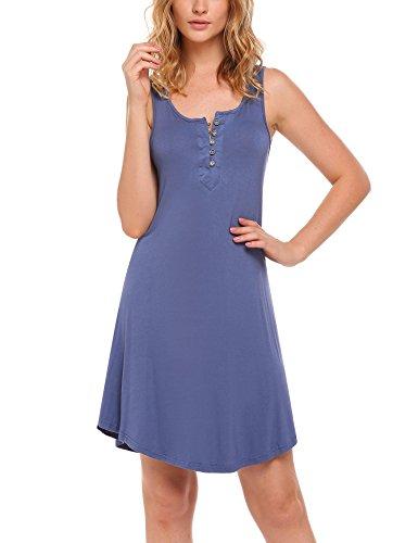 Ekouaer Damen Umstands-Nachthemd Mit Stillfunktion Stillshirt Ärmellos Blau M (Stretch-baumwolle Sleepshirt)