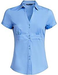 oodji Ultra Mujer Camisa con Cuello Pico Vuelto