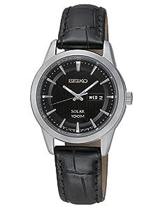 Seiko Solar - Reloj de cuarzo para mujer, correa de cuero color negro de Seiko