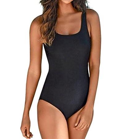 SANFASHION à Durée Limitée Été Femme Classique Vintages Maillots de Bain Col Zippé Bikinis 1 Pièces (Large, Noir Dos Nu)
