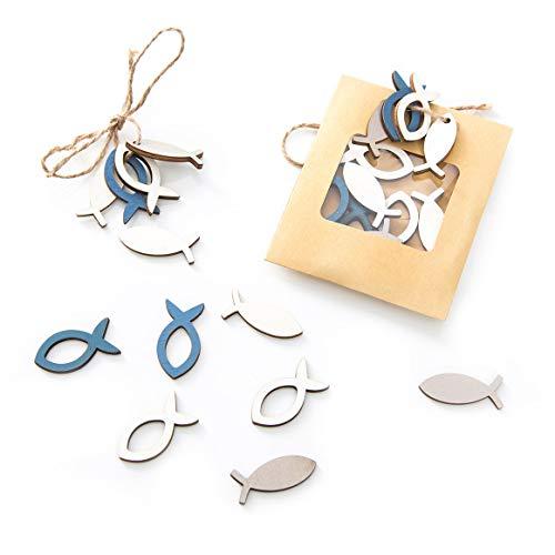 24 kleine Holz FISCHE STREU-DEKO 3,5 cm blau beige weiß Mini-Fische maritime Deko Tisch-Streu Streuteile Zierdeko Zierstreu Mini-Teile Streu-Artikel Deko-Teile Miniaturen Holz Fischchen