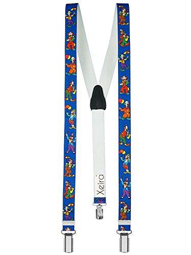 Hochwertige Hosenträger für Kinder von Xeira© - Made in Germany / Baumeister / Uni Farben / Police / Dinosaurier / Space Runner / Hündchen / Edelweiß / Retro / Elefant / Glitzer / Pirat (Normale Größe (one Size), Clown Blau)