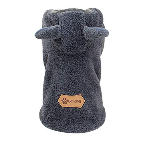 Notdark Baumwolle Casual Haustiere Hund Kleidung Warm Mantel Kapuzenjacke Kleidung für Hunde (L,Grau)