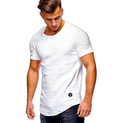 Produktbild friendGGHerren T-Shirt Slim Sleeveless Kurzarm Muscle Cotton Casual Top Bluse Schlank Schlank Striped Plaid Ärmel T-Shirt (M-3XL) (L,  Weiß)
