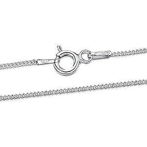Amberta 925 Sterlingsilber Damen-Halskette – Panzerkette – 1.1 mm – Verschiedene Längen: 36 40 45 50 55 60 cm