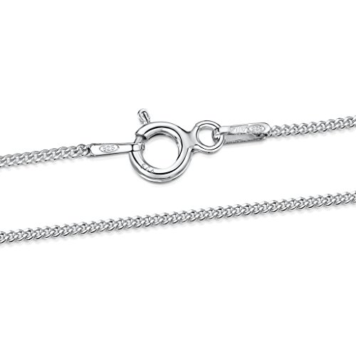 925 Sterling Silver 1.1 mm Curb Chain Size: 14 16 18 20 22 24 inch / 36 40 45 50 55 60 cm