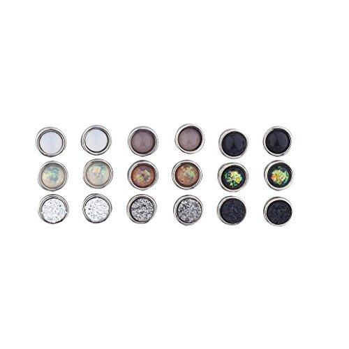 LUX Zubeh?r Silber Ton sortiert Kreis Stein Multi Ohrring Pack Set 9?Bilder