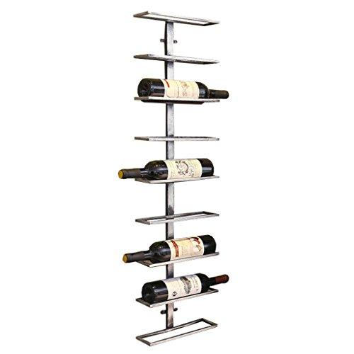 Etagère à bouteille Peut contenir 9 bouteilles de vin porte-bouteilles murales, porte-bouteille de vin suspendu, étagères de rangement d'équipement de vin de fer en métal, 27x9x98.5cm