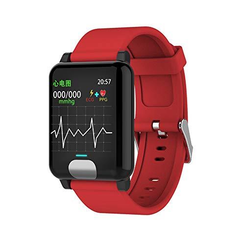 SEXTT Intelligente Orologi, IP67 Impermeabile GPS Smartwatch ECG PPG Pressione sanguigna misurazione della frequenza cardiaca Fitness Tracker,Rosso