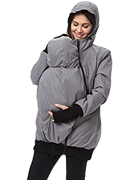 GoFuture Damen Tragejacke für Mama und Baby 4in1 Känguru Jacke Umstandsjacke aus Concordia Shell und Fleece LOVEWINGS...