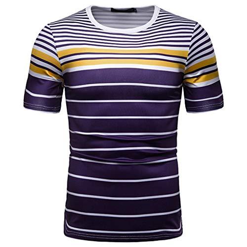 MOSERIAN Fashion Herren Bluse, kurzärmelig, gestreift, Knopfleiste, Mischfarbe - blau - XX-Large (Kleidung Mng)