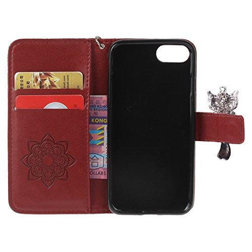 PU iPhone 7 Coque Bookstyle Hibou Étui Fleur Housse en Cuir Case à rabat pour Apple iPhone 7 (4.7 pouces) Coque de protection Portefeuille PU Case Cover (+Bouchons de poussière) (9) 1
