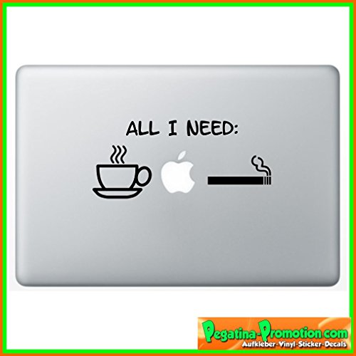 "Preisvergleich Produktbild ""All i need Coffee KAffee MAc Zigarette"" Apple "" Aufkleber Sticker für Macbook Air 11 13, Macbook skin 13, 15, 17 Zoll inch Apple Notebook Aufkleber ohne Hintergrund Tattoo Vinyl PEGATINA Apple Mac"