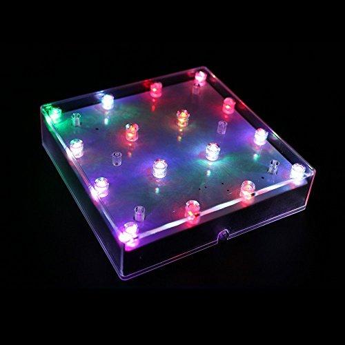 JIANUO SHIYE 5 Zoll Acryl Quadrat LED Platte Licht, 16 LEDs Vase Basis Super Bright LED Lichter für Hochzeit, Party, Home Tischdekoration Center (Multi-color)