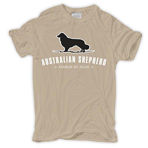 Spaß kostet Männer und Herren T-Shirt Australian Shepherd - Familie ist Alles Sand