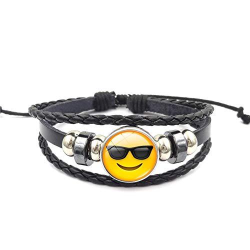 YUANOMSL Armband Schwarze Sonnenbrille Mode Emoticon Pack Zeit Edelstein Armband Mehrschichtig Gewebt Schwarz Leder Handgefertigt Perlen Europäische Und Amerikanische Persönlichkeit F