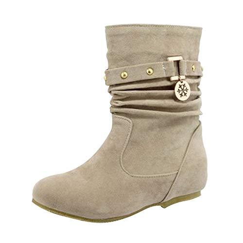 Manadlian Chaussures Bottes Hiver De Neige Femme Boots Fourrees Bottines Mode Courts avec Doublure Chaude Bottines Plates Fourrées Sélection Multicolore 35-43