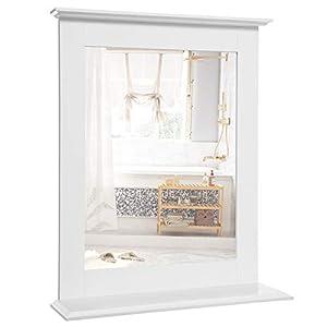VASAGLE Wandspiegel, Badspiegel mit Ablage, Wandmontage, Schminkspiegel, für Schminktisch, 46 x 12 x 55 cm, mattweiß…