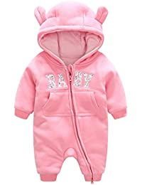 fd0cfdca3 Baby Hooded Rompers Cotton Snowsuit Thick Onesies Jumpsuit Winter Outfits  for 0-12 Months